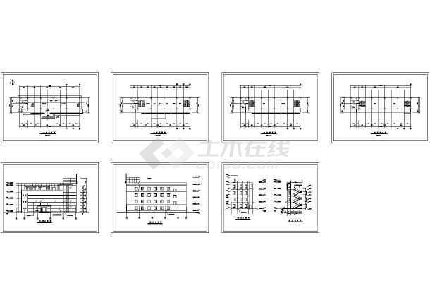 某砖混结构四层学校教学楼建筑方案CAD图(高19米)-图一