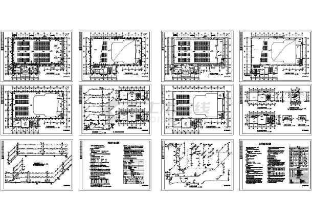 四平市某中学教学楼给排水设计图CAD图-图一