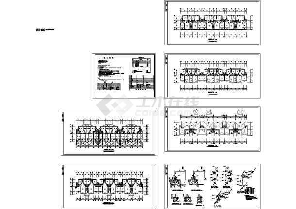 某 四层6户联排2户叠拼别墅给排水施工CAD图-图一