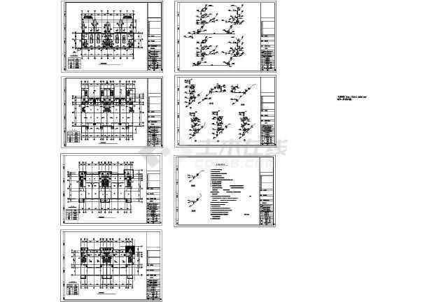 某半地下层地上3层4户型联排别墅给排水施工设计CAD图-图一