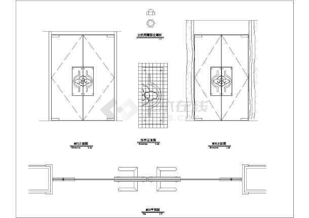 钢化玻璃装饰门CAD详图-图一
