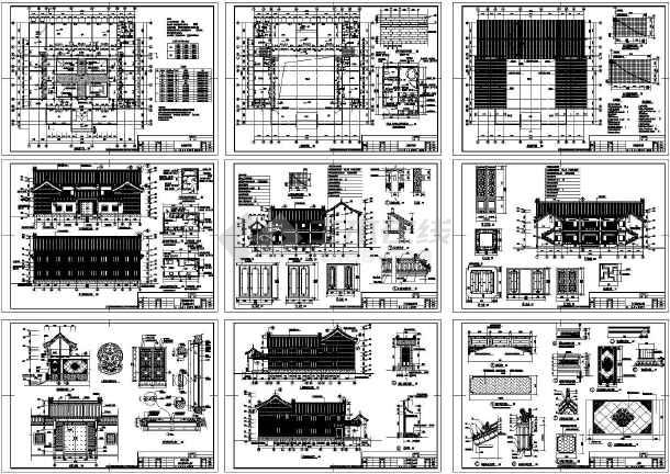 某地两层砖混结构仿古住宅建筑设计施工CAD图纸-图一