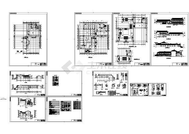 某地两层砖混结构仿古住宅建筑设计施工CAD图纸-图二