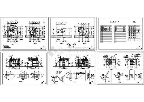 某二层带阁楼欧式风格别墅建筑施工图纸,标注明细-图一
