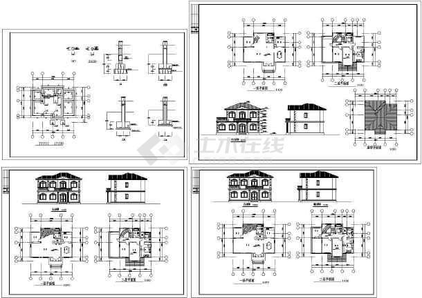 某二层欧式风格别墅建筑施工图纸,共九张图纸-图一