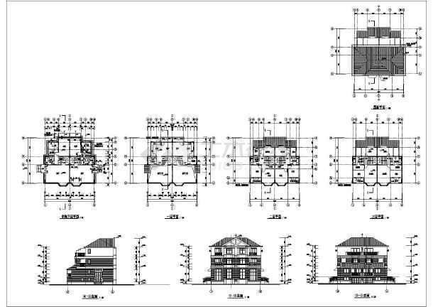 三层欧式风格别墅建筑施工图纸,共七张图纸-图一