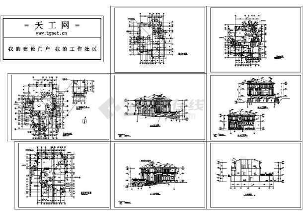 观澜湖高尔夫别墅全套建施CAD图(共8张图纸)-图一