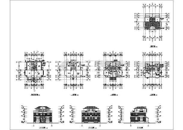 某三层欧式风格别墅建筑施工图纸,含地下室-图一