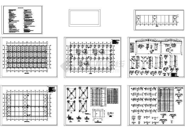 58.8x33m 钢梁排架柱厂房结构设计CAD施工图(含钢结构设计说明)-图一