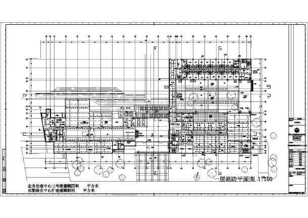 上海交通银行业务处理三号楼及后勤服务给排水施工CAD图纸-图一