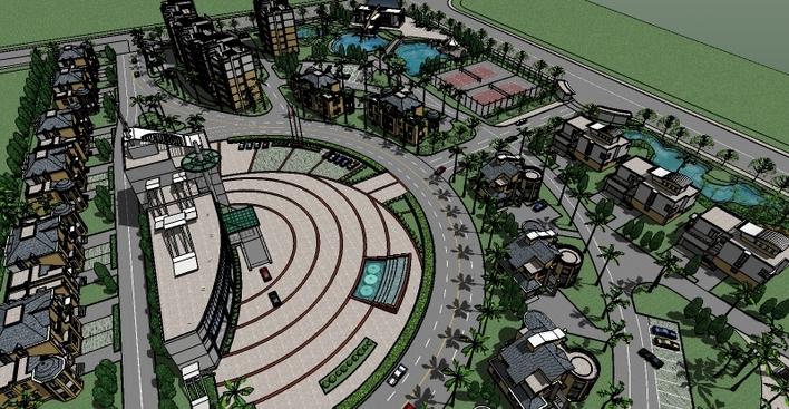 SketchUp做的一个小区规划-图1