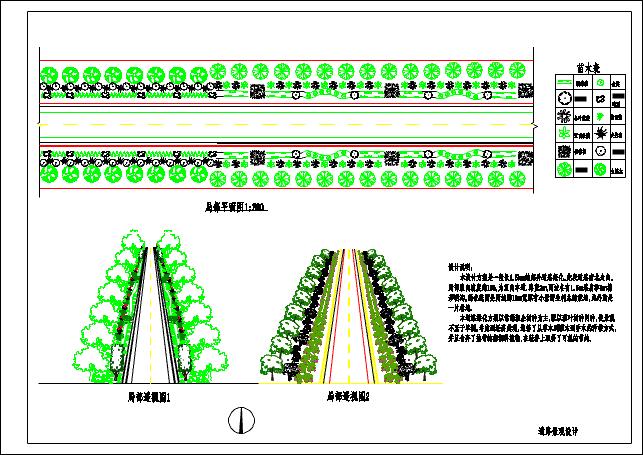 某地道路景观设计局部平面图透视图图片1