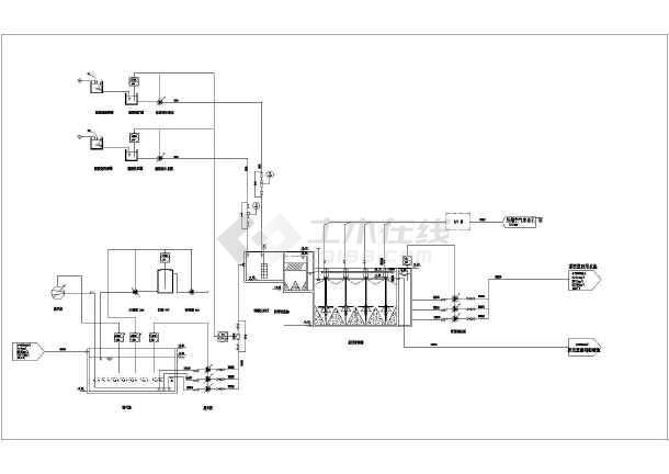 某中水处理厂30000m3/天中水回用工艺流程图-图一