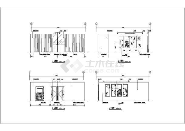 点击查看某地高级会所茶吧装修设计施工图纸第1张大图