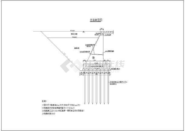 某小型码头挡墙及码头平台面结构钢筋图-图2