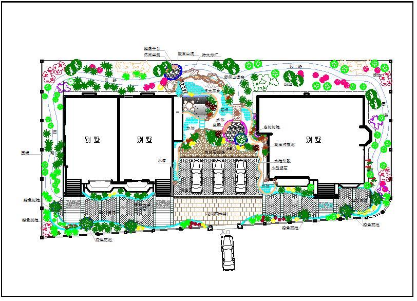 别墅景观方案设计CAD图纸(标注详细)图片1