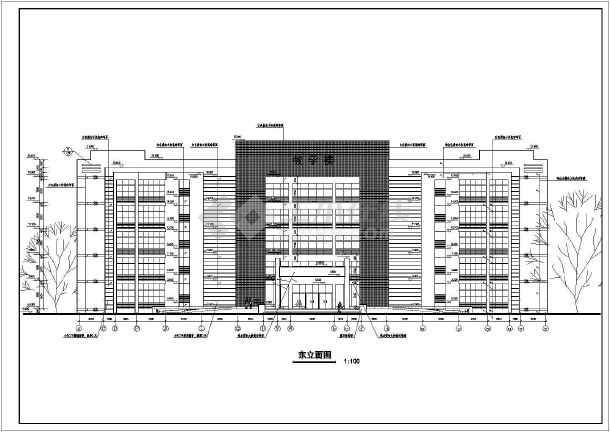 图纸为某地五层框架结构教学楼建筑设计施工图,内容包含:各层平面图,屋顶平面图,各立面图,各剖面图,楼梯详图,节点大样,卫生间大样,门窗大样等.图片