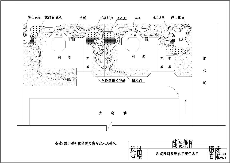 双拼别墅景观绿化平面cad施工图纸图片1