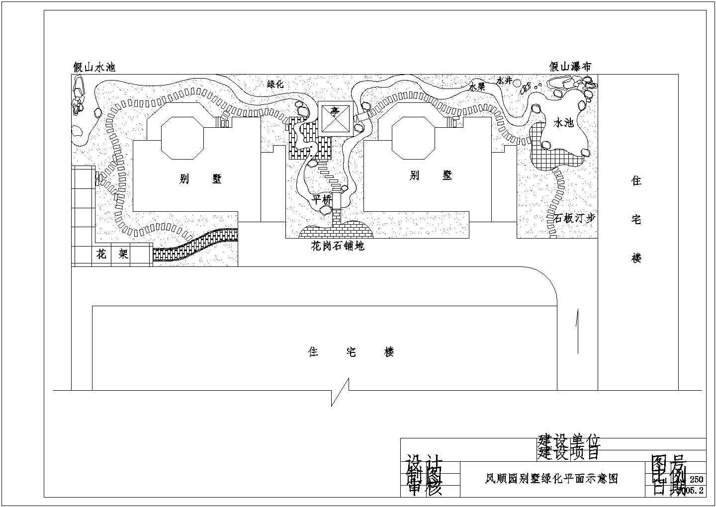 双拼别墅景观绿化平面cad施工图纸图片3
