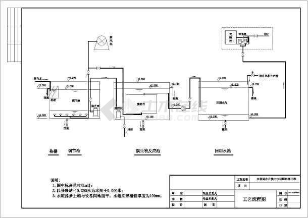 北京市某办公楼中水回用工程工艺设计图-图一