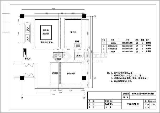 北京市某办公楼中水回用工程工艺设计图-图1