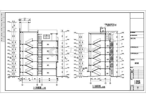 某中学6层框架结构教学楼建筑设计方案图纸图片