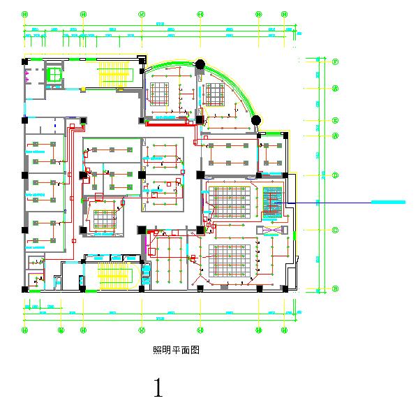 中南世界城大厦办公楼电气照明施工图图片1