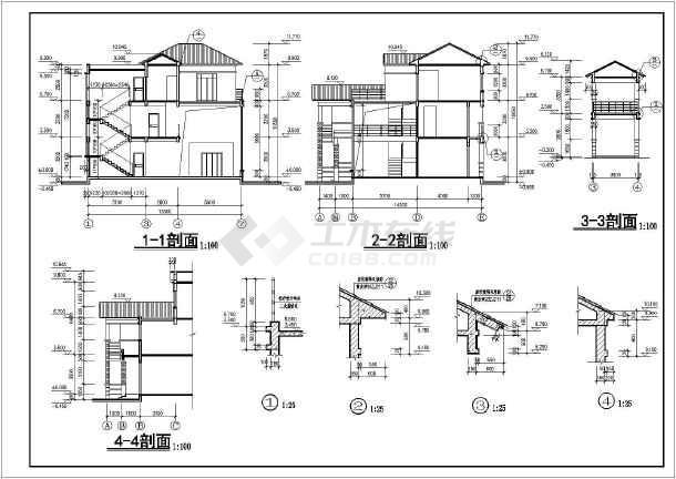 三层独栋式别墅建筑施工图,含效果图-图1