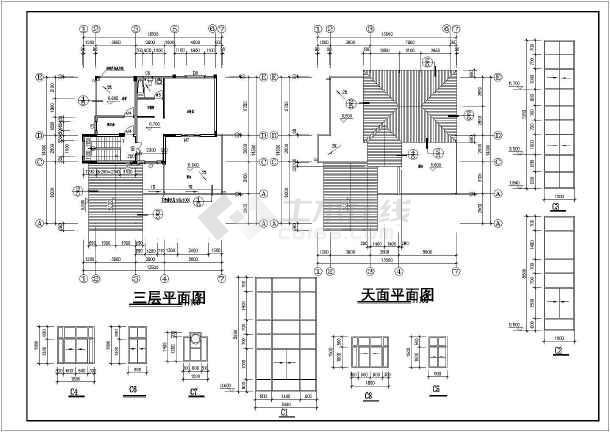 三层独栋式别墅建筑施工图,含效果图-图3
