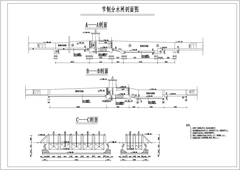 水利工程两套大型节制分水闸结构布置图图片3