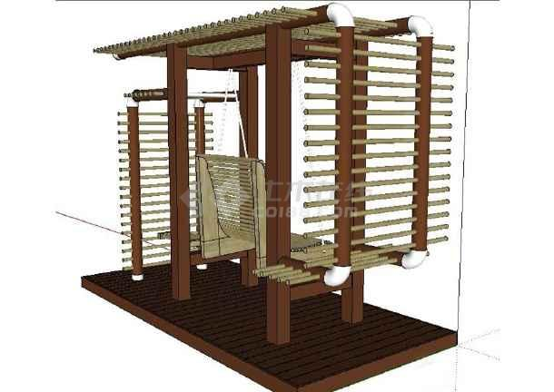 现代风格花架秋千椅组合su模型(不含施工图)-图1