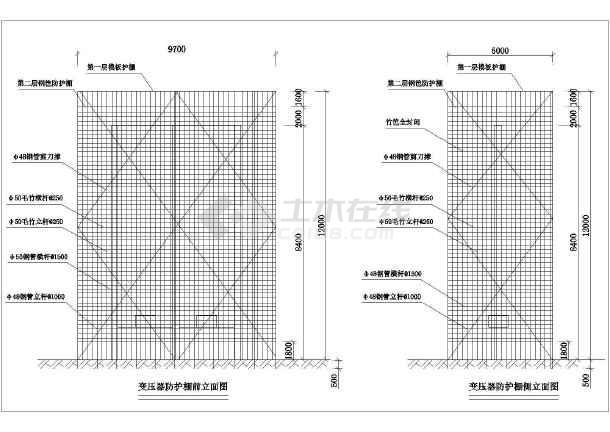 点击查看变压器防护棚方平面布置图第1张大图