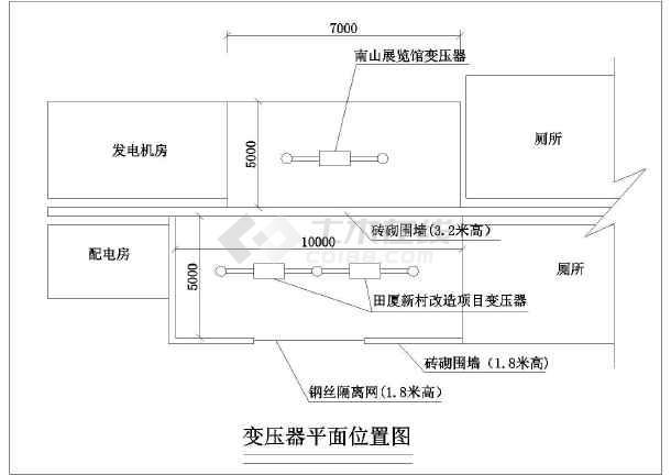 点击查看变压器防护棚方平面布置图第2张大图