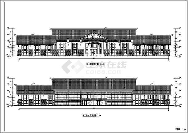 景区游客中心框架结构建筑结构全套施工图-图一