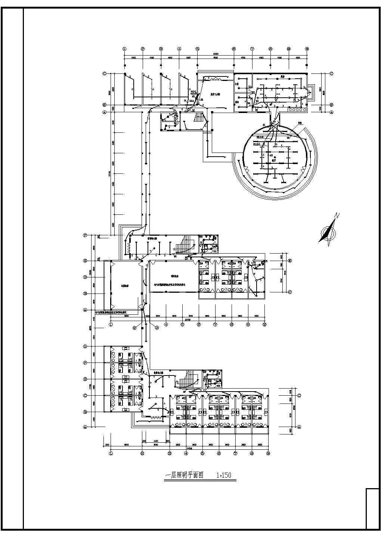 某地三层办公楼电气设计施工布置图图片2