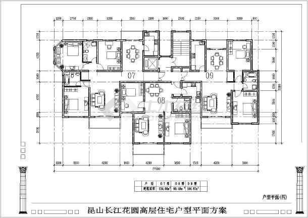 某高层户型平面建筑CAD方案图纸-图1