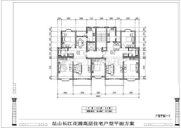 某高层户型平面建筑CAD方案图纸-图2