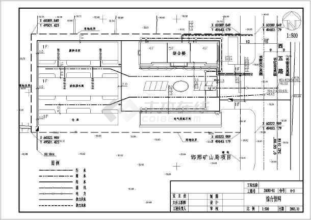 某小区综合管网设计带地形给排水设计图-图3