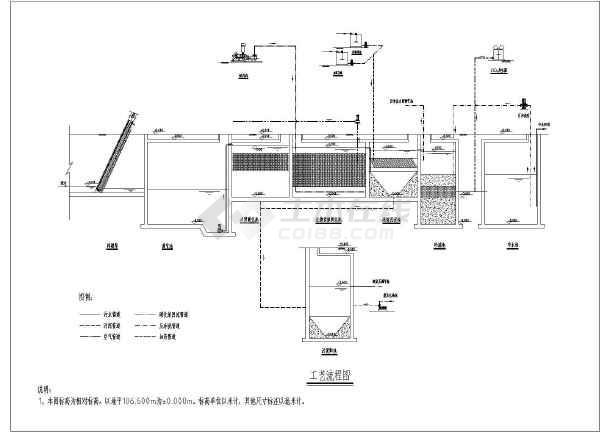 700方生活污水处理及中水回用工程工艺图纸-图2