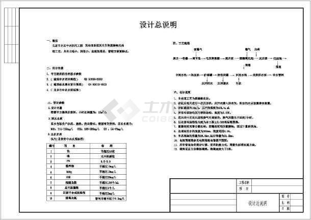 点击查看北京某小区接触氧化法中水回用设计流程图纸 第1张大图