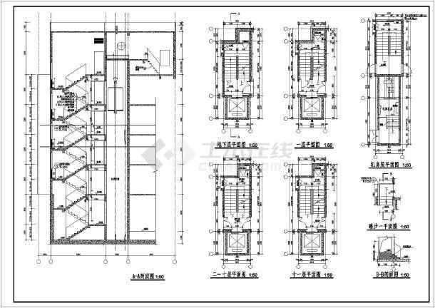 点击查看某小型楼梯、门窗大样装修设计详图第1张大图
