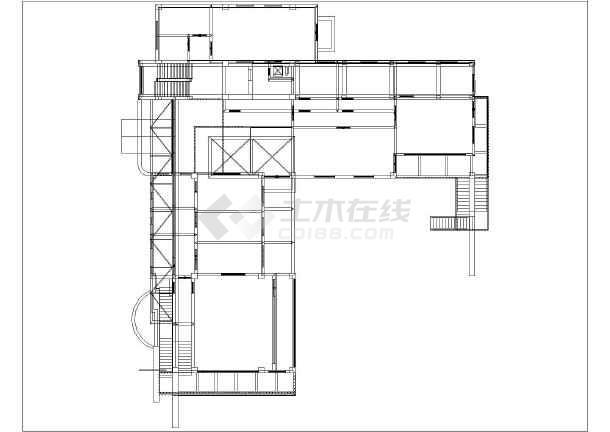 某地三层框架结构幼儿园3D模型图-图1