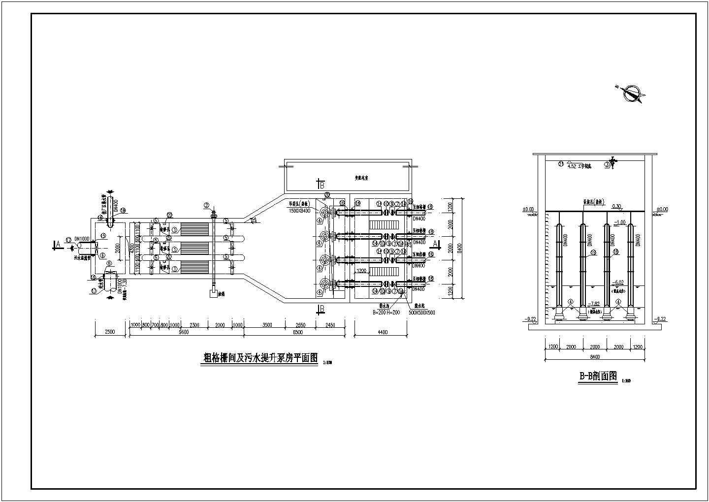 某污水处理厂粗格栅及进水提升泵房平面图剖面图图片1