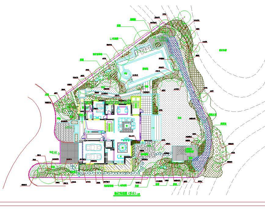 某地大型时尚别墅景观绿化设计方案图图片1