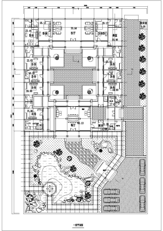 经典中国仿古建筑四合院住宅施工图(含鸟瞰图和透视图)图片2