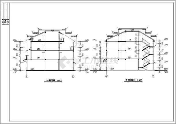 新型农村徽派马头墙住宅楼建筑施工图纸