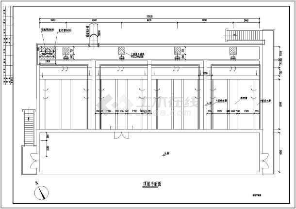 城市污水厂D型滤池水处理工程构筑物图纸-图1