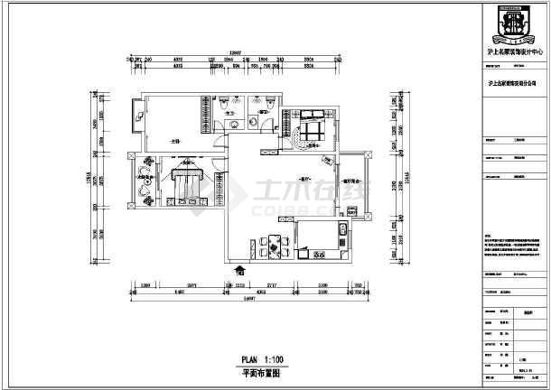 天花电路铺装图_某怕欧体三室装一厅修设计平面图纸 - 平面图图纸下载 - 土木在线