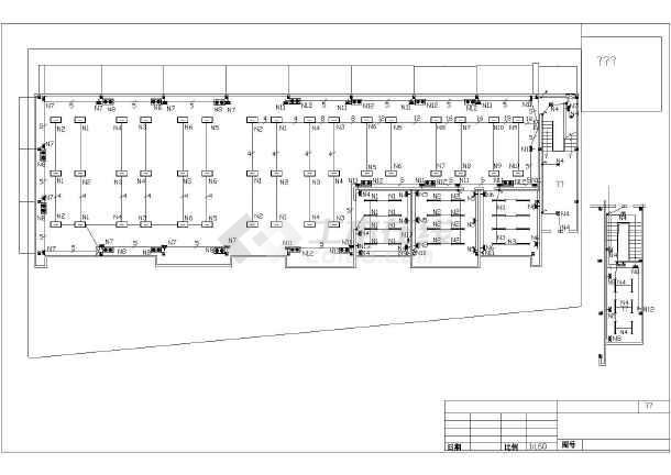 某地机电设备厂房车间照明施工平面图-图一
