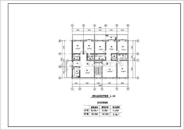 住宅户型方案施工图(含建筑面积)-图二